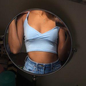 Basic Pastel Blue Jersey Bralet Top